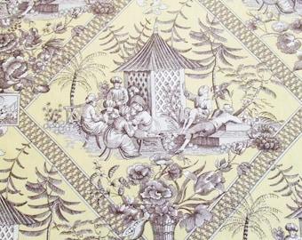 Linen Toile Fabric Chinoiserie Lemon Curd Turkish Toile Fabric