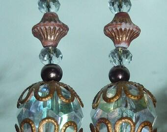 """transparent"" iridescent copper earrings"