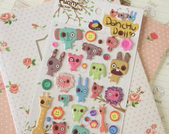 Funny Sticker World Danchu Doll Puffy scrapbooking diary stickers