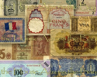 Foreign Currency Digital Collage No.2 WWII Script French English Money Ephemera Decoupage Images Altered Books Printable Instant Download