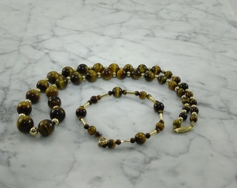 Tiger Eye 14K Gold Necklace & Bracelet