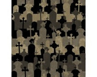 Halloween Tombstones - Come Sit a Spell from Willmington Prints - Full or Half Yard Olive, Black, Gray Cemetary and Black Cats Crosses