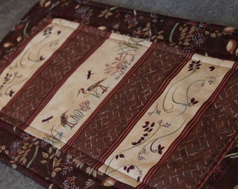 Brown Blue Heron Dragonfly  25 1/2  X 12 1/2 Table Runner Topper