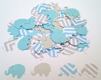 Elephant Baby Shower Blue Chevron Elephant Blue Gray Elephant Confetti Elephant Cut Out Elephant Theme Baby Shower Blue Elephant Confetti