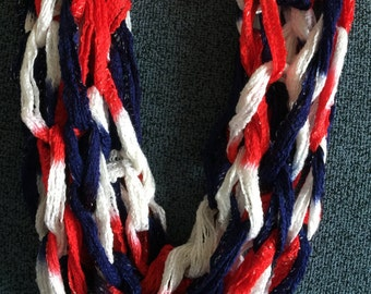 Red White and Blue Knit Infinity Scarf