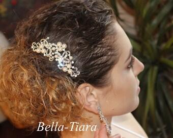 FREE SHIPPING crystal wedding comb, bridal clip, silver wedding comb, pearl wedding comb, bridal comb,  wedding veil comb