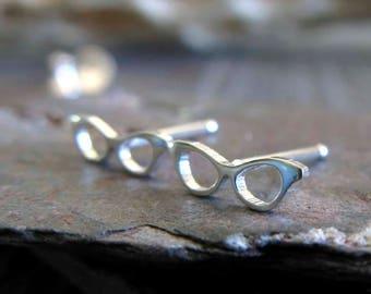 Tiny cat eye glasses stud earrings. Sterling silver or 14k gold posts. Nerd geek jewelry Miniature eyeglasses. Minimalist retro gift for her