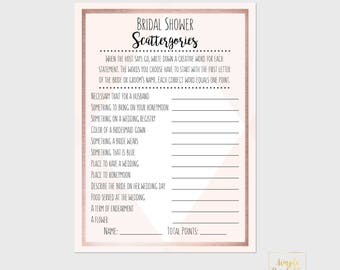 Scattergories Blush and Rose Gold Bridal Shower Game