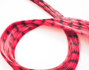 Vegan grizzly hair feather extension clip - Red Grizzly - CHERRY GLAZE