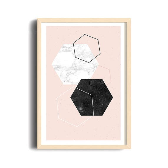 DIAMOND AND MARBLE // Mid Century poster, 12x18, abstract art, diamonds, pink