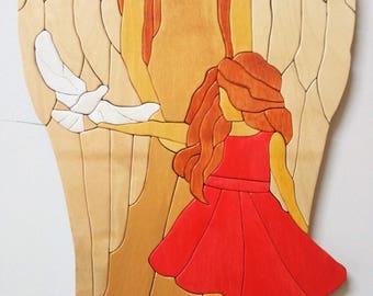 Intarsia wall hang modern Wood art Guardian Angel