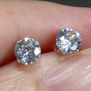 5mm CZ Diamond Stud Earrings in sterling silver post backs Bridal Bridesmaid cartilage 1\2 ct jewelry