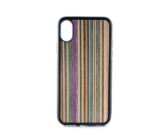 iPhone X Case - Recycled Skateboards - Iphone x Wood Case - Protective Iphone X - Iphone X Wood Cover - Real Wood Iphone X - Rubber iPhone X