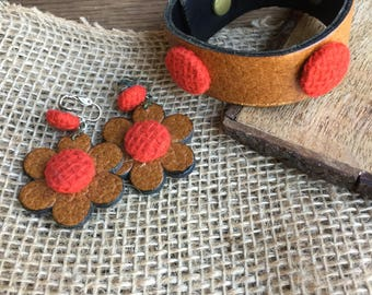 Funky Leather or Faux Leather Daisy Clip Earrings with Matching Bracelet