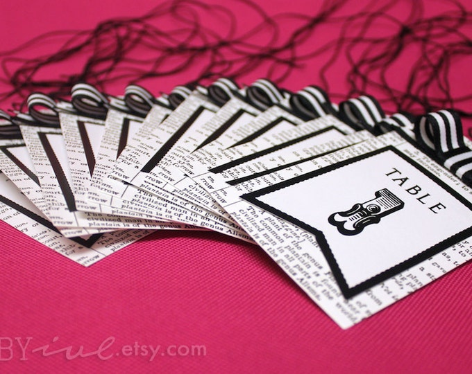 Table Number Black and White, Set of 1 to 12 Tags Number. Perfect whimsical touch for wedding reception decor.