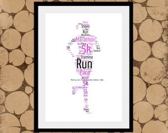 Gift For Runner, Personalised Runner Print, Runner Word Art, Runner Word Collage, Marathon Runner Print, Jogger Word Art, Gift for Runner.