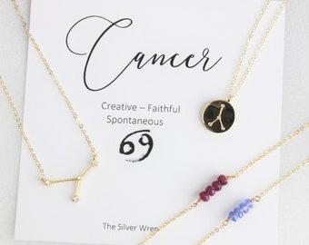 Cancer Zodiac, July Birthstone Necklace, Ruby Necklace, July Birthday Gift, Zodiac Cancer Constellation, Zodiac Jewelry, Gift for July