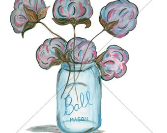 Cotton In A Mason Jar Sublimation Transfer for Shirts