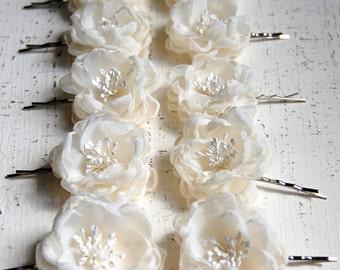 Wedding Hair Flowers,Wedding Hair PIece, Flower Girl Flowers, Bridesmaid Hair Flower, Bridal Hair Flower Bobby Pins - Little Sarah