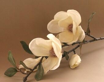 Artificial magnolia etsy cream magnolia stem artificial flower silk flower stem mightylinksfo