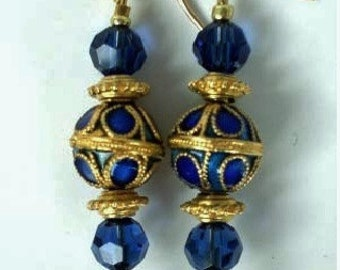 Earrings DeepBlue Closinne Gold Accent Beads, MontanaBlue SwarovCrystals