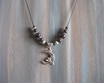 Lunar rabbit necklace decorated with brown glass beads / rabbit moon necklace / #013