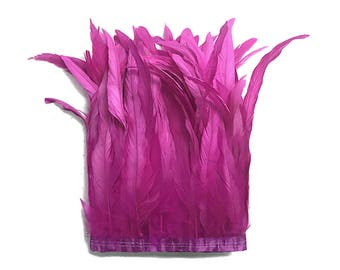 """Roostertail Trim, 1 Yard - 10-12"""" Hot Pink Bleach Coque Tails Long Feather Trim (Bulk) : 4236"""