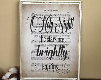 Christmas Hymn - Oh Holy Night Christmas Hymn - Christmas Hymn on Wood - Christmas Wall Art - Christmas Decor - Christmas Hymn Sheet
