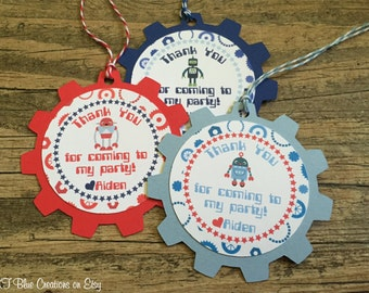 Robot Favor Tags - Navy, Light Blue & Red - Thank You Tags, Gift tags - Personalized - robot baby shower, birthday - set of 12