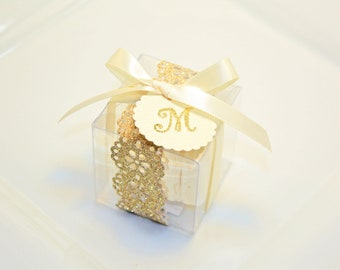 Gold Wedding Favors, Macaron Box - 30 Glitter Gold Favor Boxes