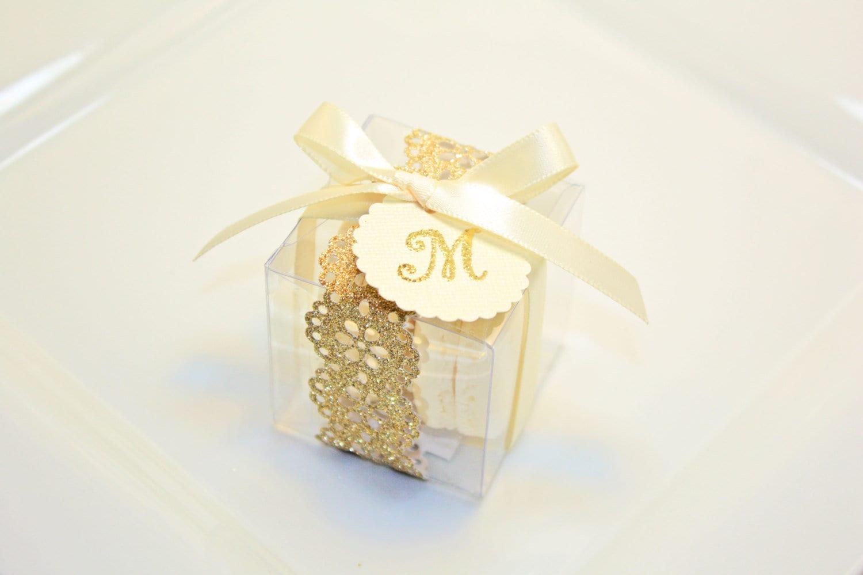 Gold Wedding Favors, Macaron Box - 30 Glitter Gold Favor Boxes