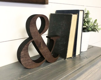 """Extra Thick Ampersand Wooden Cutout, Laser Cut Wood Letter """"&"""" Sign, Chunky And Sign Wooden Wall Decor, Wood Letter and Numbers Cutout"""