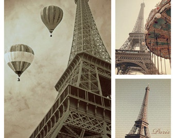 Paris print set, 3 photo set, gallery wall art, wall art set, three prints, Eiffel Tower prints, Eiffel Tower print set, sepia print set