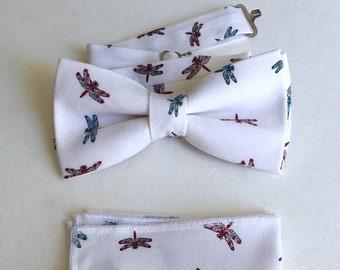 Dragonfly bowtie for men white cotton