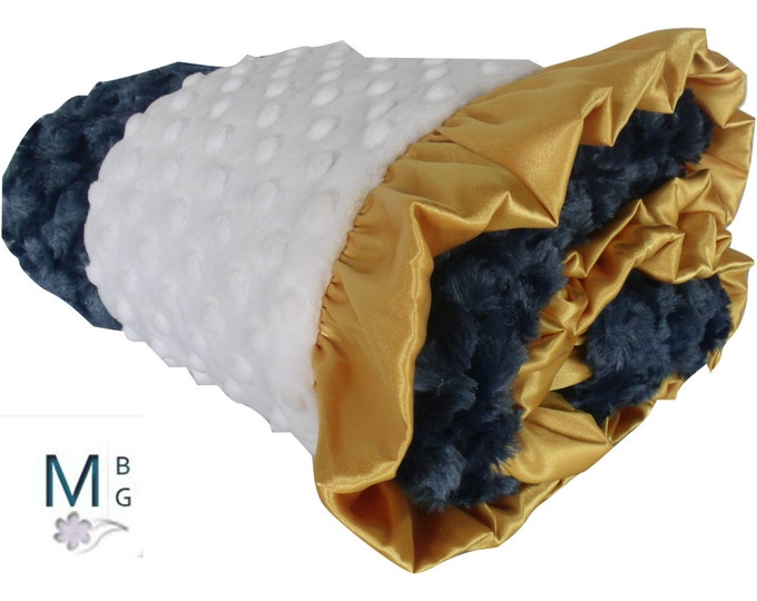 Gold and Navy Minky Baby Blanket, Gold Ruffled, 3 Sizes