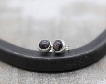 Blue Gold Stone Earrings - Sterling Silver Gemstone earrings - blue earrings - gift - jewelry sale