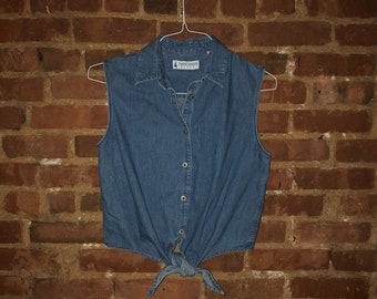 Vintage 90s Blue Jean Button Down Tie Front Tank Top by Marsh Landing