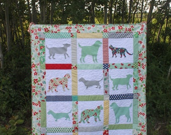Gingham Dog and Calico Cat PDF Quilt Pattern Dog and Cat silhouette applique Crib or Toddler Bed Quilt