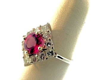Pink Tourmaline and  Diamond Ring 14Kt White Gold