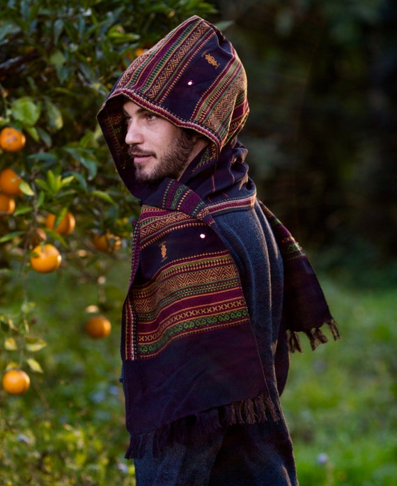 Hooded Scarf with Hood Cashmere Wool Grey Handmade Hoodie Earthy Tribal Pattern Festival Gypsy AJJAYA Mens Wear Warm Primitive Natural