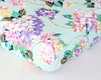 Fitted Crib Sheet: Pastel Hydrangea Floral (Girl Baby Bedding) | Bold Bedding