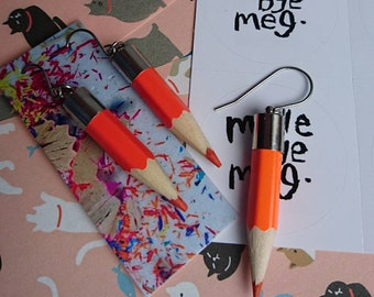 Orange drop dangle pencil earrings, perfect gift for teachers or artists made bye meg madebyemeg