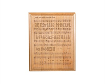 It is Well With My Soul Hymn Plaque - Engraved Solid Alder Wood - Christian Gift - Religious Wall Decor