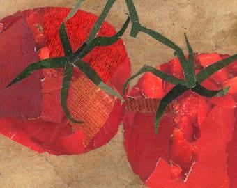 Tomato Tomato art tile. Coaster. Contemporary decor.