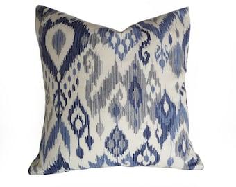 Ikat Pillow, Throw Pillow, Decorative Pillows, Blue Ikat Pillow, Blue Pillows, Cushion Covers, Designer Pillows, Navy, Grey, Cream, White