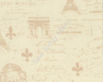 Paris Carte Postale Ivory - From Paris with Love Collection - Wilmington Prints Q1409-86354-112 (sold by the 1/2 yard)