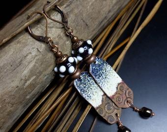 Earrings Bohemian chic-rustic, black and white, enameled copper earrings, lampwork, women gift earrings, Lampwork beads.