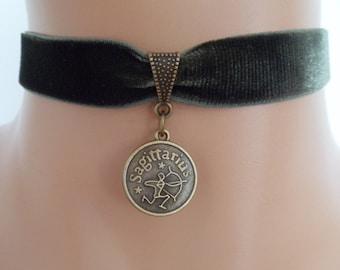 green velvet choker, sagittarius choker, sagittarius necklace, stretch ribbon, zodiac charm, antique bronze