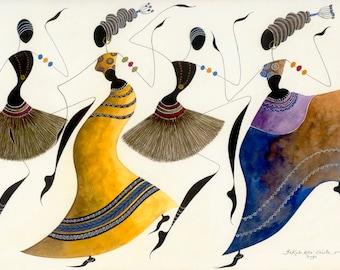 "African Dancers BIKUTSI 26 in a Set of 5 5""x7""(12.5cmx18cm) Blank African Greeting Cards, African Couple Dance Greeting Cards, African Gift"