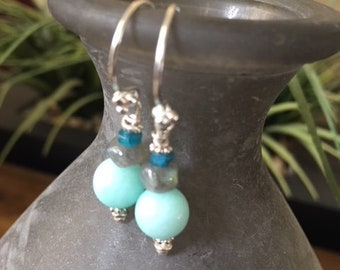 Sterling Wire w Aquamarine Beads and small Labradorite and Apatite slices. Handmade Earrings.  Gemstone Jewelry. Sterling Silver.